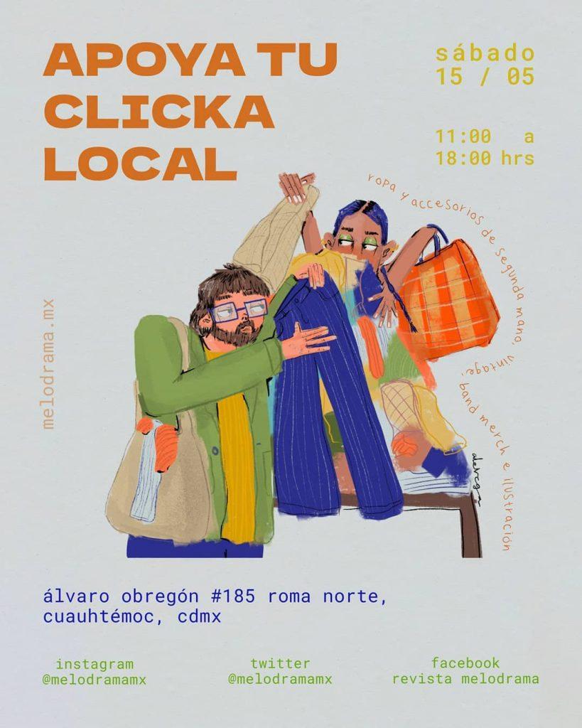 """Cartel de bazar de moda local en Ciudad de México """"Apoya a tu clicka local"""". 15 de mayo de 2021"""